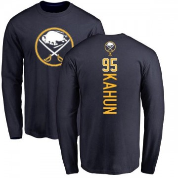 Men's Dominik Kahun Buffalo Sabres Backer Long Sleeve T-Shirt - Navy