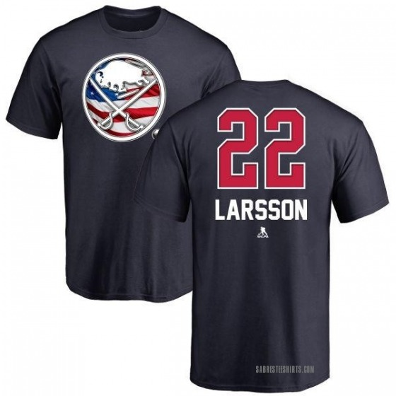 Men's Johan Larsson Buffalo Sabres Name and Number Banner Wave T-Shirt - Navy