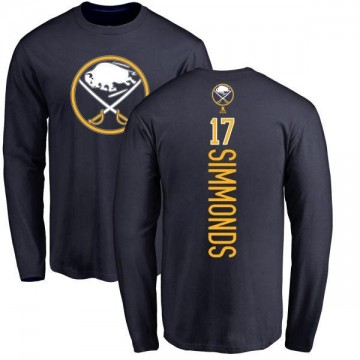 Men's Wayne Simmonds Buffalo Sabres Backer Long Sleeve T-Shirt - Navy