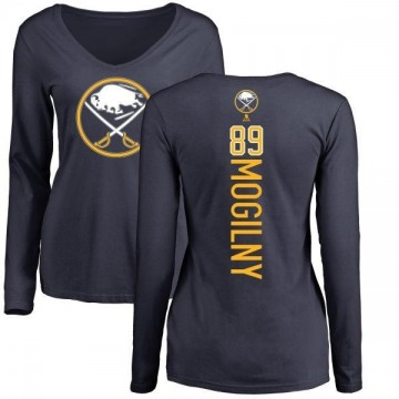 Women's Alexander Mogilny Buffalo Sabres Backer Long Sleeve T-Shirt - Navy