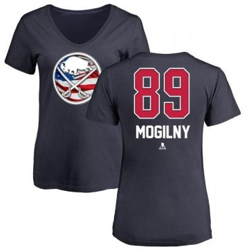 Women's Alexander Mogilny Buffalo Sabres Name and Number Banner Wave V-Neck T-Shirt - Navy