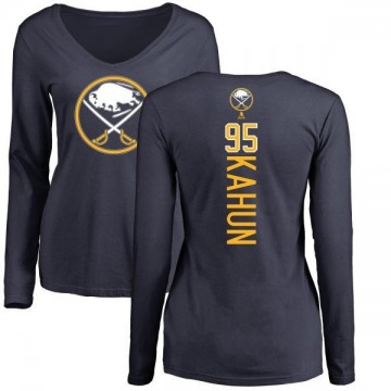 Women's Dominik Kahun Buffalo Sabres Backer Long Sleeve T-Shirt - Navy