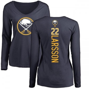 Women's Johan Larsson Buffalo Sabres Backer Long Sleeve T-Shirt - Navy