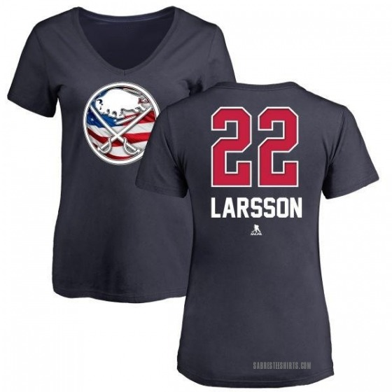 Women's Johan Larsson Buffalo Sabres Name and Number Banner Wave V-Neck T-Shirt - Navy